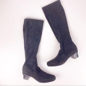 Munro Proper Size Black Sock Heeled Boots